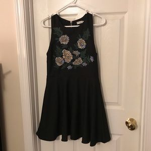 Black floral embroidered mini dress